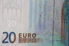 Billetes de banco euro 20 - fotos de la acción de dinero Fotografía de archivo libre de regalías