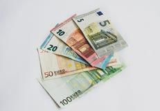 Billetes de banco euro de la moneda, entregados imagen de archivo libre de regalías