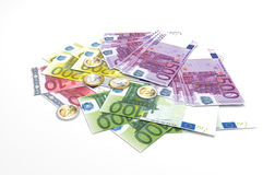 Billetes de banco euro - moneda de curso legal de la unión europea Imagenes de archivo