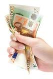 Billetes de banco euro que asen Foto de archivo libre de regalías