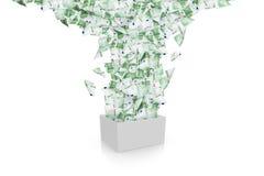 Billetes de banco euro que fluyen en la caja blanca Fotos de archivo