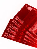 Billetes de banco euro rojos Foto de archivo