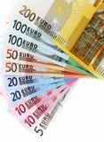 Billetes de banco euro, ventilador hecho de billete euro Imagenes de archivo