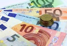 Billetes de banco europeos, moneda euro de Europa, euros Fotografía de archivo libre de regalías