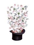 Billetes de banco europeos que vuelan del sombrero de copa viejo Fotos de archivo