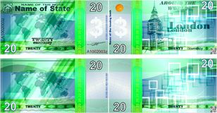 Billetes de banco ficticios en el ` del ` del tema en todo el mundo Formas en blanco para los billetes de banco libre illustration