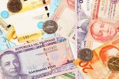 Billetes de banco filipinos del Peso Fotografía de archivo