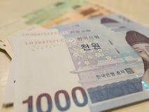 Billetes de banco ganados coreanos Imagen de archivo libre de regalías