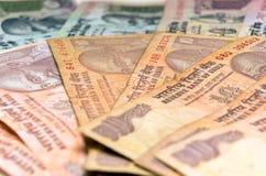 Billetes de banco indios de la rupia de la moneda Fotos de archivo