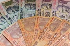 Billetes de banco indios de la rupia de la moneda Imagen de archivo libre de regalías