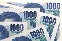 Billetes de banco japoneses de los yenes de la moneda Fotografía de archivo libre de regalías