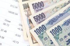 Billetes de banco japoneses de los yenes de la moneda Imágenes de archivo libres de regalías