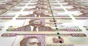 Billetes de banco de mil chelines kenyan del balanceo de Kenia, dinero del efectivo, lazo ilustración del vector