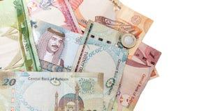 Billetes de banco modernos de los dinares de Bahrein en blanco fotografía de archivo