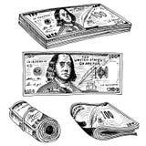 Billetes de banco o americano detallados Franklin Green de la moneda 100 dólares o efectivo y monedas mano grabada dibujada en vi stock de ilustración