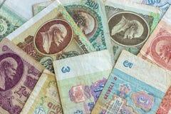 Billetes de banco de papel de los tiempos de la URSS foto de archivo libre de regalías