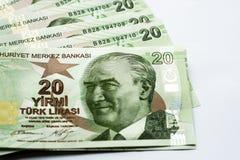 Billetes de banco de papel turcos fotografía de archivo