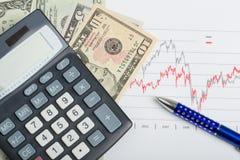 Billetes de banco, pluma y calculadora del dinero del dólar de los E.E.U.U. Fotografía de archivo