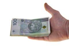 Billetes de banco polacos de la moneda cientos zloty Imágenes de archivo libres de regalías