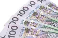 Billetes de banco polacos en denominaciones de 100 Fotografía de archivo