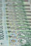 Billetes de banco polacos que ponen en una fila Fotos de archivo libres de regalías