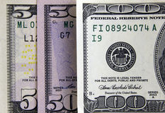 Billetes de banco primer, dinero del dólar del fondo foto de archivo