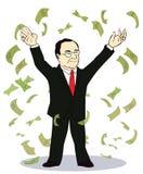 Billetes de banco que lanzan del hombre de negocios Fotos de archivo libres de regalías
