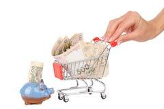 Billetes de banco de quinientos hryvnias en el carro de la compra, aislados Fotografía de archivo