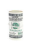 Billetes de banco rodados de 100 dólares Foto de archivo
