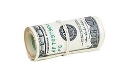 Billetes de banco rodados de 100 dólares Imagen de archivo libre de regalías