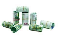 Billetes de banco 100 rollos de los euros Fotos de archivo libres de regalías