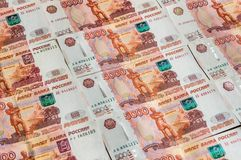 Billetes de banco rusos de la moneda, cinco mil rublos Foto de archivo