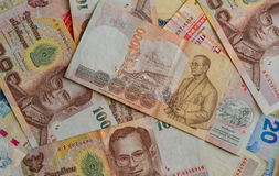 Billetes de banco tailandeses del baño Fotos de archivo libres de regalías