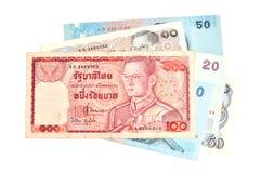 100 billetes de banco tailandeses del baht Fotos de archivo libres de regalías