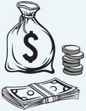 Billetes de banco, talega y monedas de los dólares de la pila Imagen de archivo