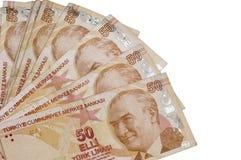 Billetes de banco turcos de las liras de Fifthy Imagen de archivo libre de regalías