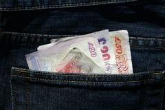 Billetes de banco usados Foto de archivo libre de regalías