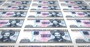 Billetes de banco de veinte Pesos cubanos del banco central de Cuba, dinero del efectivo, lazo stock de ilustración