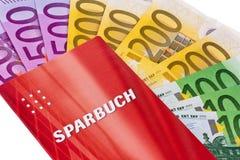 Billetes de banco y bleu euro Imágenes de archivo libres de regalías
