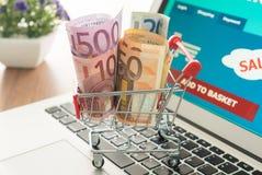 Billetes de banco y carros de la compra euro Fotografía de archivo