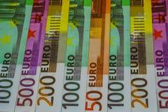 Billetes de banco y efectivo euro del dinero 50 100 200 EURO 500 imágenes de archivo libres de regalías