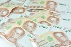 Billetes de banco y monedas del baht tailandés de Tailandia mil THB Tailandia del baht Imagen de archivo