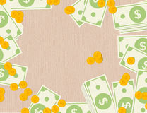 Billetes de banco y monedas del dólar en un fondo de madera Diseño plano Fotos de archivo libres de regalías