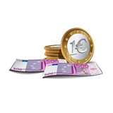 Billetes de banco y monedas euro Fotos de archivo libres de regalías