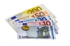 Billetes de banco y monedas euro Foto de archivo