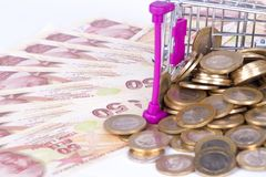 Billetes de banco y monedas de la lira turca con el dinero Concep del carro de la compra Imagen de archivo libre de regalías