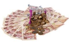 Billetes de banco y monedas de la lira turca con las finanzas del carro de la compra concentradas Fotografía de archivo libre de regalías