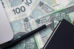 Billetes de banco y nota polacos Imagenes de archivo