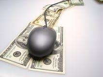 Billetes de banco y ratón del dólar Imagen de archivo
