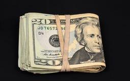 Billetes de dólar de la moneda 20 de Estados Unidos Fotografía de archivo libre de regalías